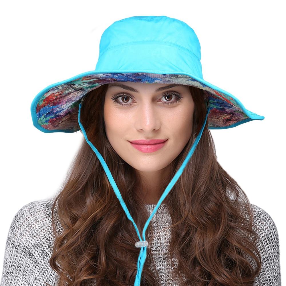 Vbiger Women Sun Hat Foldable Bucket Fishing Hat Reversible Wide Brim  Summer Sun Hiking Cycling Hat Adjustable Chin Strap 57e2203315df