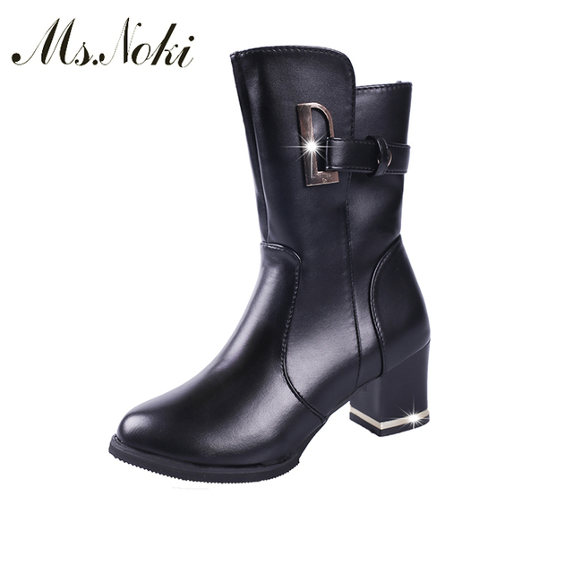4f22f9320acb Ms.Noki Winter Zip Square Heel Snow Boots Women Platform Warm Boots Pu  Leather Girls Metal Decoration Boot School Shoes Woman
