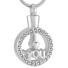 Cremation Jewelry urn Necklace shape studded stainless steel jewelry necklace pendant