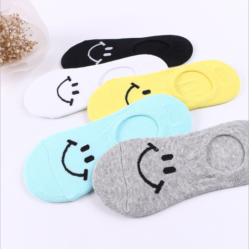 1Pairs Hot Comfortable Smile Cotton Sock Women&Men Slippers Short Ankle Socks Flawless Funny Youthful Style Socks Soxs