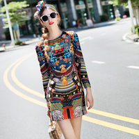 Europe And United States 2016 New Women S Fashion Early Autumn Folk Style Abstract Floral Nine
