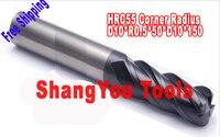 1pcs 10mm hrc55 R0.5*D10*50*D10*150 four Flutes Milling tools Mill cutter Corner Radius End Mill CNC router bits