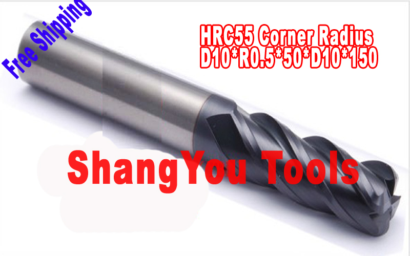 Free shipping-1pcs 10mm hrc55  R0.5*D10*50*D10*150 four Flutes Milling tools Mill cutter  Corner Radius End Mill CNC router bits free shiping1pcs aju c10 10 100 10pcs ccmt060204 dia 10mm insertable bore drilling end mill cutting tools arbor for ccmt060204