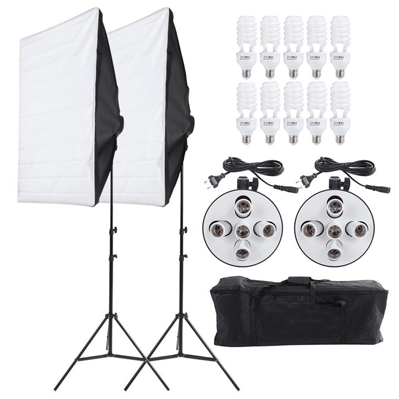 Photography Studio Soft Box Continuous Lighting Kits 5 Lamp Head Holder*2+Softbox*2+Light Stand*2+45W Bulbs*10 Photo Studio Set ashanks photographic equipment 5 e27 socket lamp holder with 60x90cm softbox photo studio light tent box kit continuous lighting