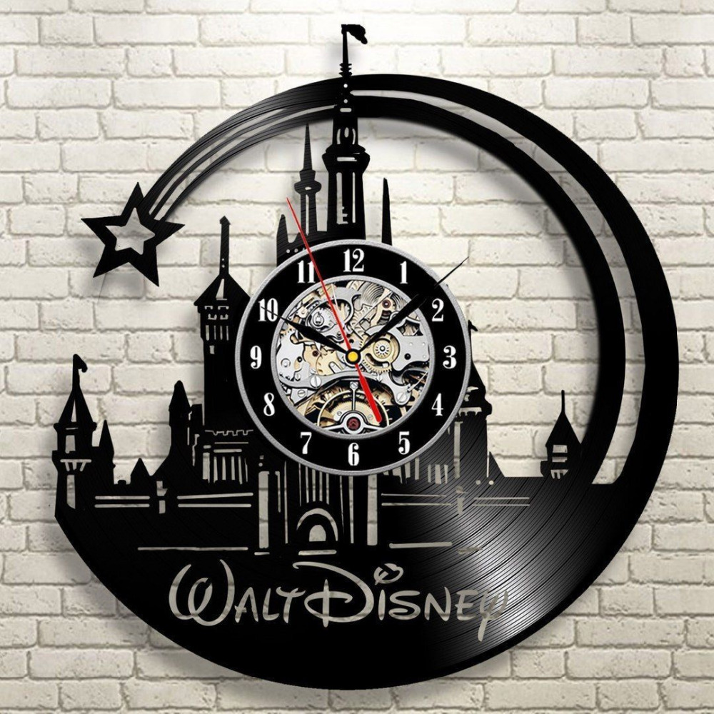2019 New CD Vinyl Record Wall Clock Modern Cartoon Design Black Wall Watch Home Decor Clock Relogio Parede For Children Gifts