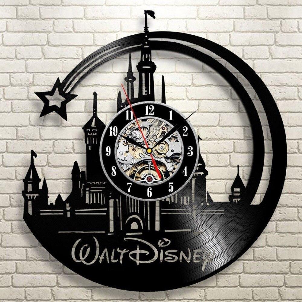 Reloj de pared del registro del vinilo moderno diseño de dibujos animados Reloj de pared negro Decoración para el hogar Relogio parede para niños regalo