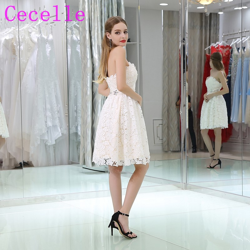 391e155b9 Simple Cute Lace Short Cocktail Dresses Sweetheart Beaded Belt Junior's  Semi Formal Little White Dresses Cocktail Robes Custom-in Cocktail Dresses  from ...