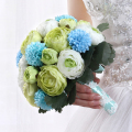 2017 Beauty Green Artificial Peony Flowers Handmade Decorative Bride Bridal Lace Accents Wedding Bouquets 1 Piece Free Shipping