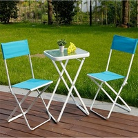 Leisure Outdoor Garden Table Modern Square Courtyard Table Balcony Folding Coffee Table With 2 Chairs