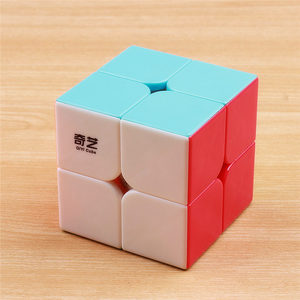 QIYI QIDI 2X2X2 MAGIC SPEED CUBE POCKET STICKERless PUZZLE PROFESSIONAL CUBE 2x2 SPEED CUBE EDUCATIONAL funny TOYS FOR CHILDREN(China)