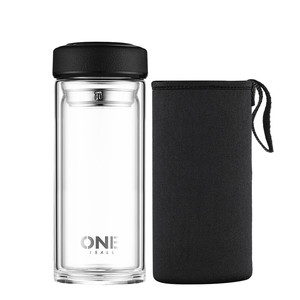 490ml Double Wall Glass Water Bottle Wit