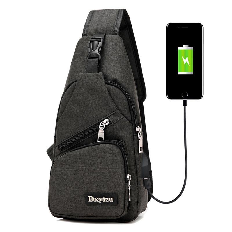 J&Q store new arrival USB men's chest pack portable charging bag Multi Pocket leisure satchel canvas travel chest bag contrast panel chest pocket tee