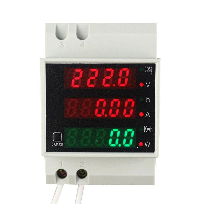 Carril Din de vatios medidor AC 110 V 220 V 380 V 100A voltímetro amperímetro Volt Amp potencia activa Factor tiempo la energía de corriente de voltaje de monitor