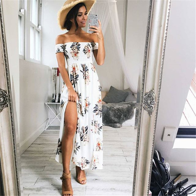 07f500e92ea66 Pofunuo Women Summer Maxi Dress White 2017 New Beach Boho Style Floral  Print Off Shoulder Chiffon