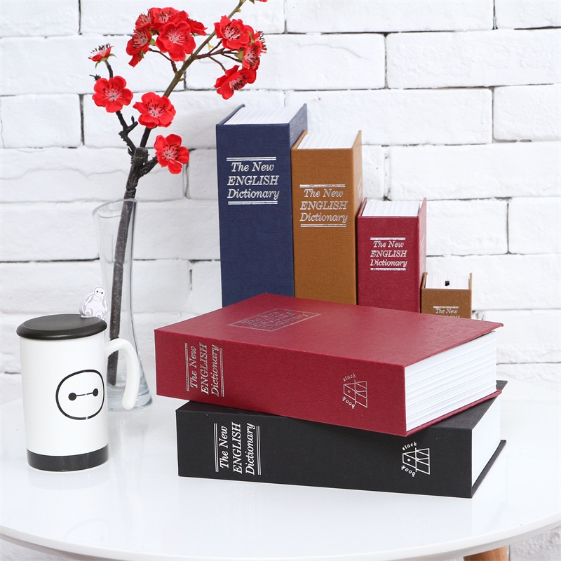 Size L 4/Color Hidden Box Lock Key English Dictionary Strong Steel Home Office Caravan Money Jewelry Phone Storage Safe Box size s hidden book safe box security lock key english dictionary strongbox steel home office travel phone money safes box