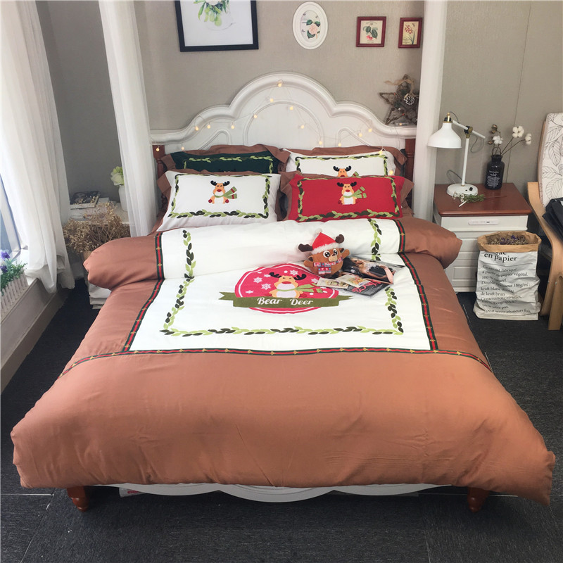 Bedding-Sets Flat-Sheet Egyptian Cotton Duvet-Cover Embroidery Queen Christmas Luxury