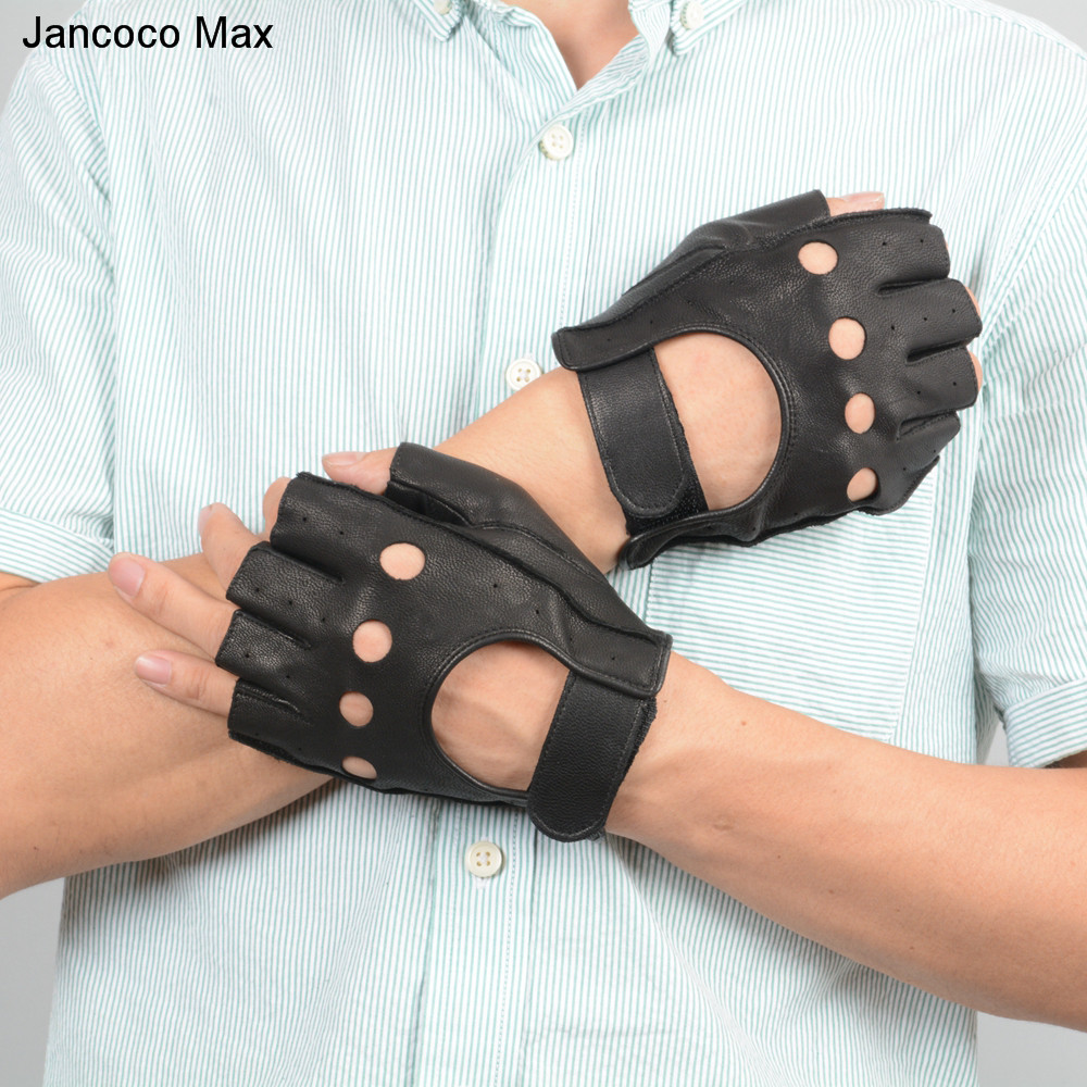Jancoco Max 2018 Men Genuine Deerskin Leather Half Finger Gloves High Quality Driving Gloves Fingerless Mittens S7199