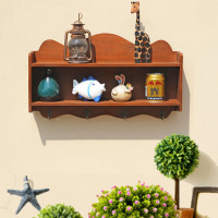 Kitchen Accessories Retro Wooden Storage Shelf Wall Hanging Hook Multi deck Storage Shelf For Kitchen Wooden Rack Wood Organizer