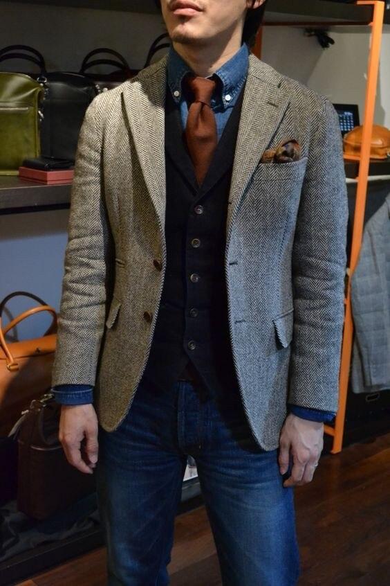 2019 серый шерстяной твид в елочку смокинг Британский мужской костюм Slim Fit Для мужчин дизайн блейзера индивидуальный заказ свадебные костюмы