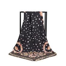 New Arrival Fashion Women soft satin brand scarf / petal Printed quare silk scarves 100cm Gifts Wholesale