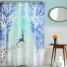 2016 Waterproof  Christmas Snow Reindeer Polyester Shower Curtain  Bath Bathing Sheer Curtain for Home Decorations