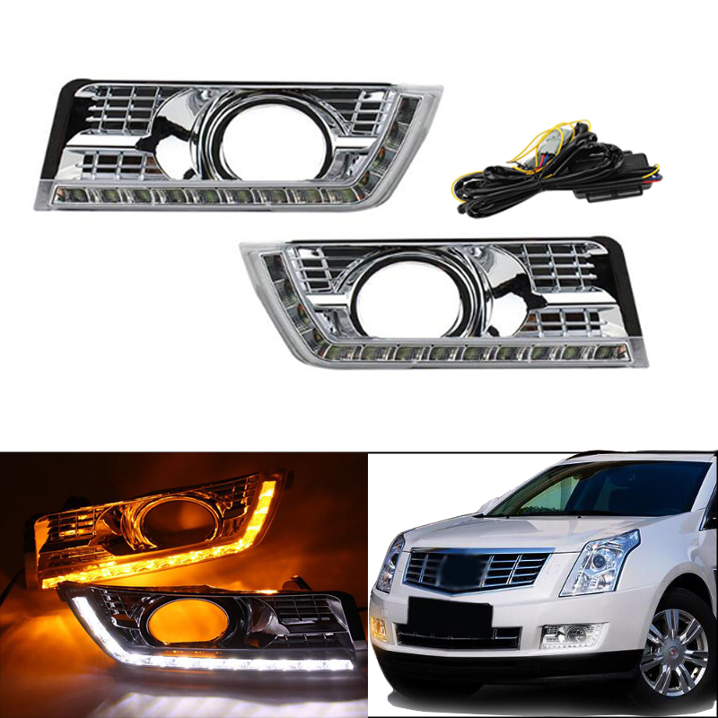 12V LED DRL Daytime Running Light For Cadillac SRX 2016 2015 2014 2013 2012 Daylight Fog Lamp Yellow Turn Signal Style Relay