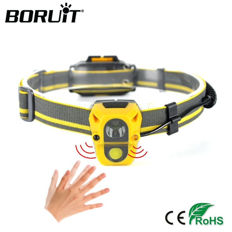 BORUiT 300LM XPE COB LED Mini Headlamp IR Sensor Headlight Hunting Flashlight Camping Head Torch Frontal Lamp by AAA Battery zk50 pen light portable mini led flashlight torch cree xpe r3 flash light 300lm hunting camping lamp by 2xaaa battery