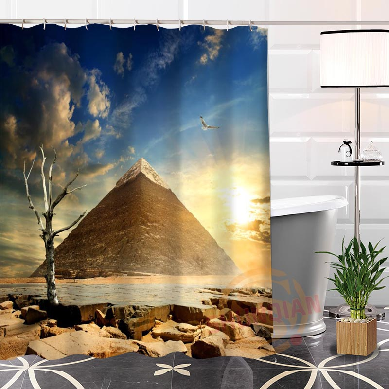 New Eco-friendly Custom Unique Egyptian Pyramids Fabric Modern Shower Curtain bathroom Waterproof for yourself H0220-16