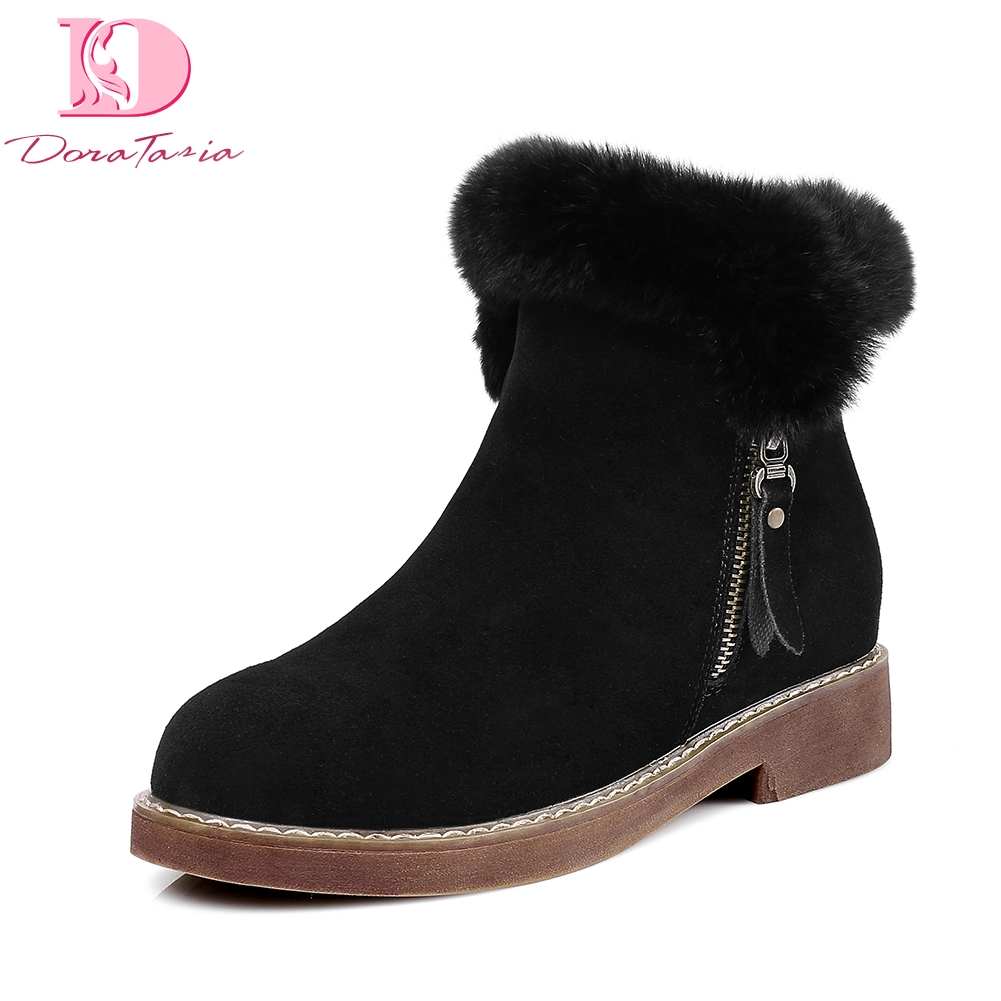 Doratasia Brand Design Cow Suede Leather Real Fur Winter Snow Boots Women Shoes Comfortbale Winter Woman Ankle Boots