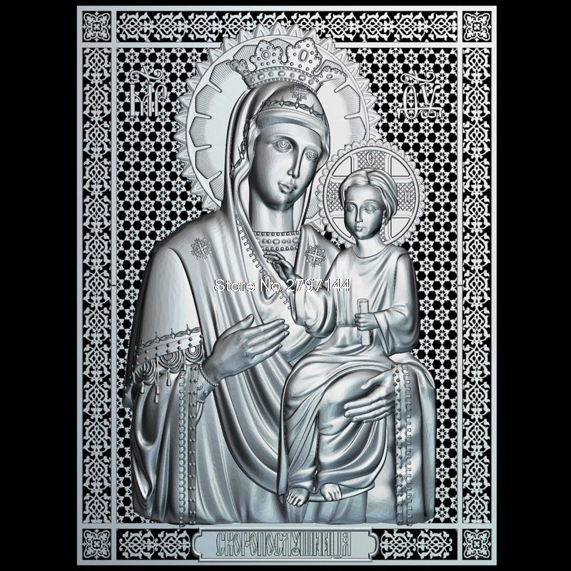 Mother of God Icon Skoroposlushnitsa 3D model relief figure STL format Religion 3d model relief  for cnc in STL file format 3d model relief for cnc in stl file format panno lighthouse