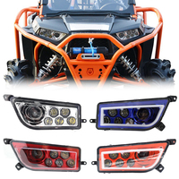 A Pair LED Headlight for 14 16 Polaris RZR High Low Beam DC 12 24 V Head Lamp with White Daytime Running Light 12.5 X 6.88 inch