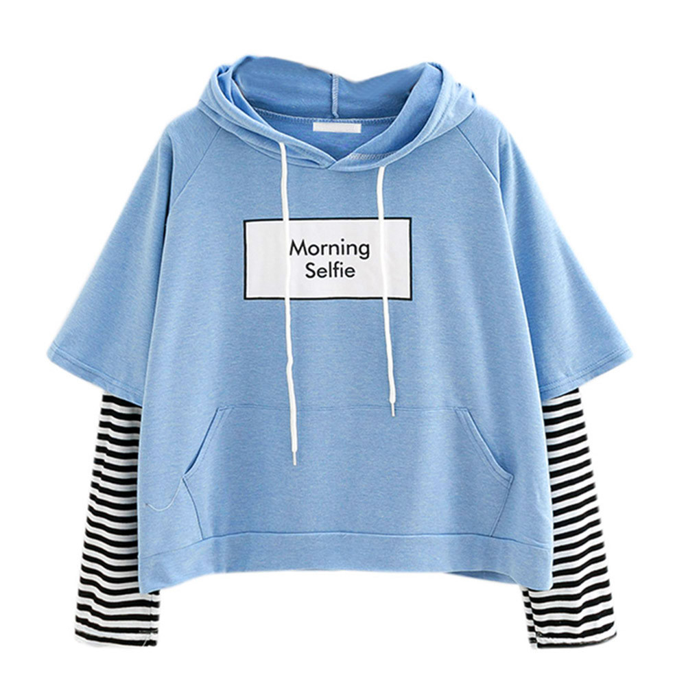 Patchwork Hoodies Sweatshirts Pocket-Crop-Top Morning Selfie Striped Women Moletom  title=