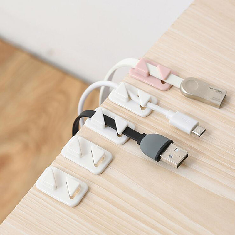 12 Pcs/ Pack Winder Clip Household Self-adhesive Network Cable Holder Hub Cable Storage Device Home Office Storage Supplies