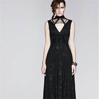 Steamunk Women Black Sexy Backless Sleeveless Dress V Neck Summer Casual Long Dresses Fashion Victorian Corset Dress
