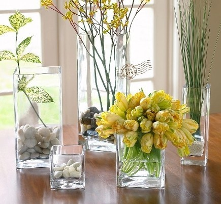 Indoor Decorative Clear Glass Rectangle Vase Restaurants Centerpiece