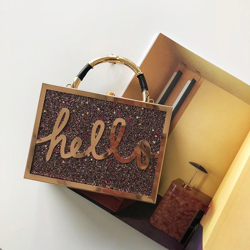 Gradient Color Sequin Letters Hello Box Style Ladies Handbag Shoulder Bag  Party Mini Messenger Bag Women s Bolsa Clutch Bag Flap-in Top-Handle Bags  from ... ba38fb779533