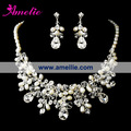 Free Shipping Gorgeous Silver Clear Crystal & Ivory Pearl Necklace & Earring Set Bridal Jewellery Set