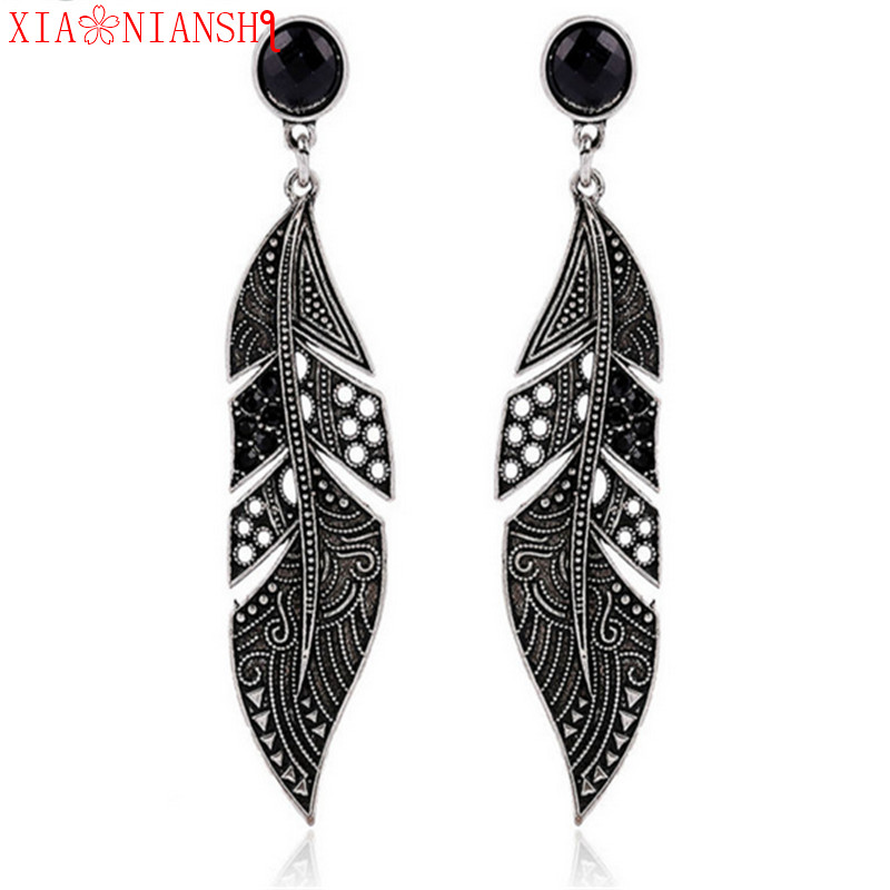 New Arrival Fashion Leaf Shape Big Elegant Bohemian Vintage Feather Earring Black Long Earring For Women Jewelry Accessories