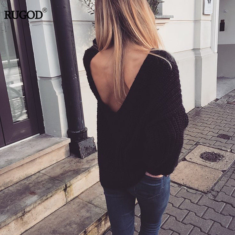 Rugod 19 New Sexy Backless V-neck Sweater Women Pullover Autumn Winter Casual Knitted Sweater Femme Tricot Pullover Jumpers 6