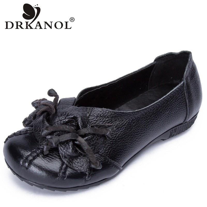 DRKANOL Autumn Women Flat Shoes Slip On Round Toe Casual Loafers Fashion Tassel Vintage Genuine Leather Women Shoes Plus Size 41 drkanol summer slip on flats breathable hollow out women flat loafers shoes round toe bow knot soft genuine leather casual shoes