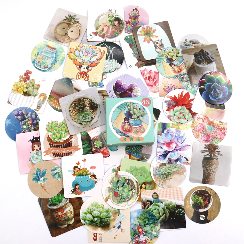 Купить с кэшбэком 46PCS/box Cute Succulent Plants Succulents Mini Paper Sticker Decoration Diy Ablum Diary Scrapbooking Label Sticker Stationery