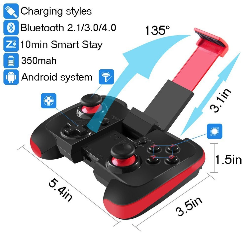 BEBONCOOL Wireless Bluetooth Game Controller Gamepad Tablet PC Games with Clip Red and Black