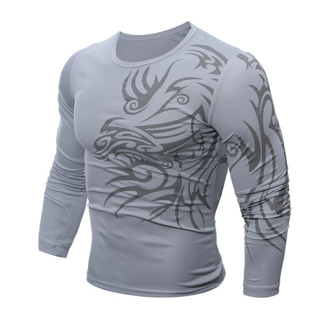 b97b1e5ecb126 Мужской сплошной белый черный футболка принтом Одежда с длинным рукавом  Повседневное Топ для тренировок мужские татуировки