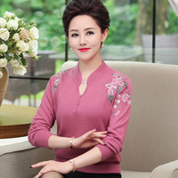 Middle Aged Women Cashmere Sweater Knitted Tops Female Long Sleeve Autumn Winter Floral Print Pullovers Sweaters Plus Size