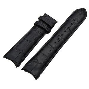 Image 4 - Bracelet de montre à bout incurvé, en cuir véritable, 22mm 23mm 24mm, pour Tissot Couturier T035 Bracelet de montre, boucle en acier, marron