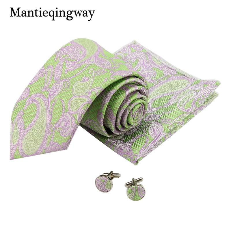 Mantieqingway Mens Paisley Floral Handkerchief Necktie Cuff Links Sets Formal Wear Business Suit Wedding 8.5cm Printed Ties