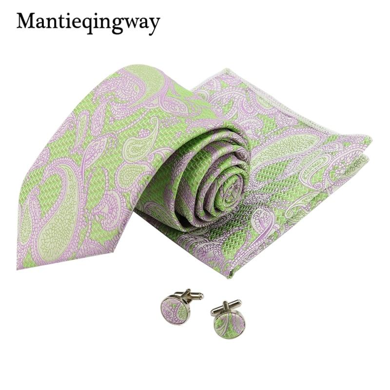 Mantieqingway Mens Paisley Floral Handkerchief Necktie Cuff Links Sets Formal Wear Business Suit Wedding 8.5cm Printed Ties