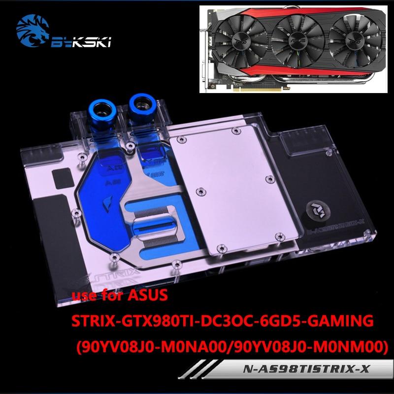 Bykski Full Cover Graphics Card Block use for ASUS STRIX-GTX 980TI-DC3OC Copper Radiator Water Block bykski water block use for gigabyte gv n98txtreme 6gd gv n98txtreme w 6gd full cover graphics card copper radiator block rgb