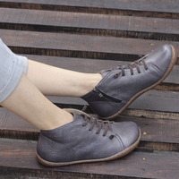 35 42 Boots Women Shoes Hand Made Genuine Leather Ankle Boots For Women Square Toe