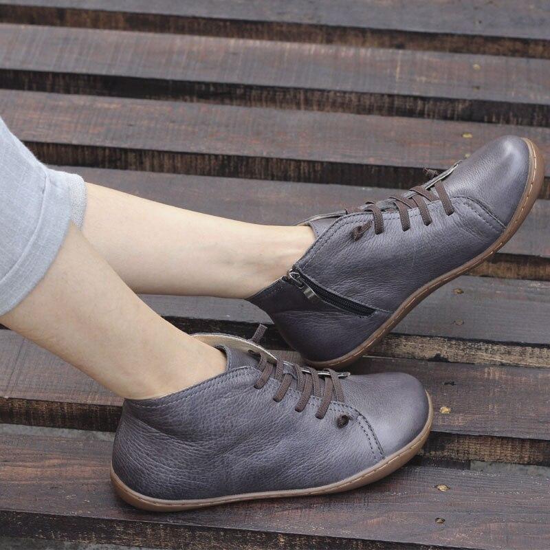 (35-46) stivali Scarpe Da Donna Genuino fatto A Mano In Pelle Alla Caviglia Stivali per Le Donne punta Quadrata Zip Donna Stivali Calzature Femminili (k03)